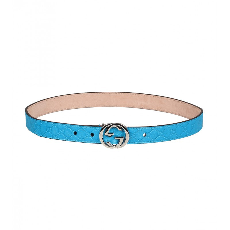 Blue leather micro guccissima belt