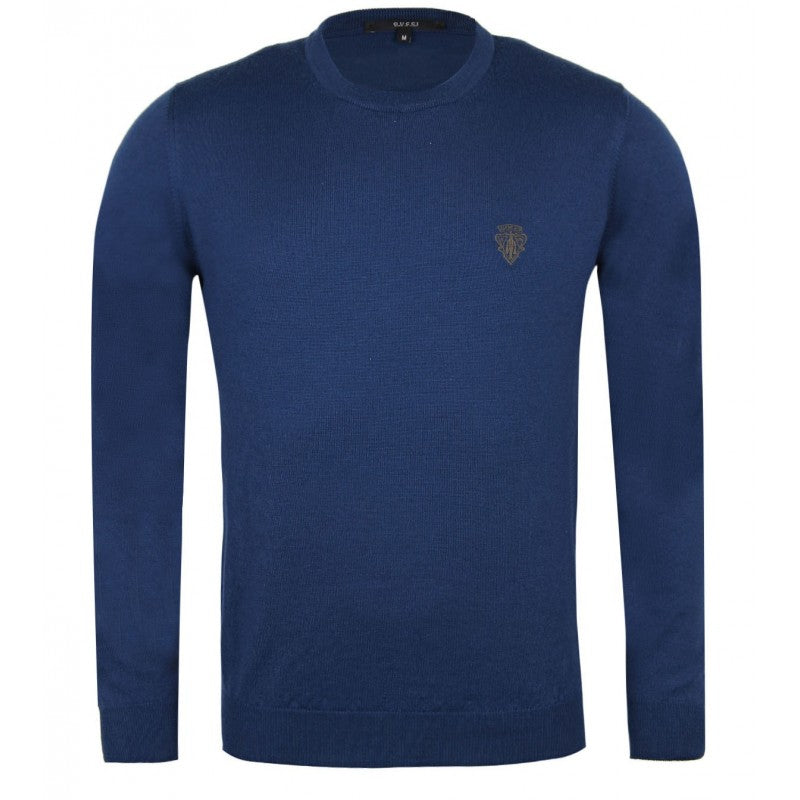 Blue merino crew neck sweater
