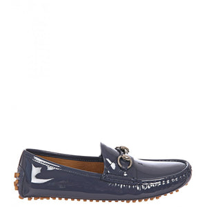Blue patent leather driver shoes