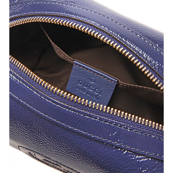Blue patent leather Soho cosmetic bag