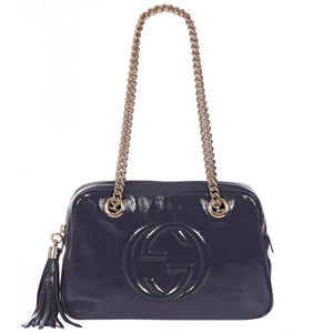 Blue Soho soft patent leather shoulder bag