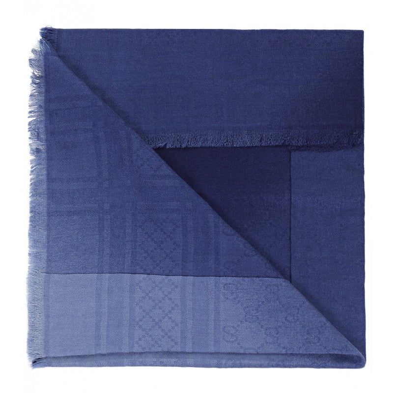 Blue wool & silk GG pattern kid's scarf