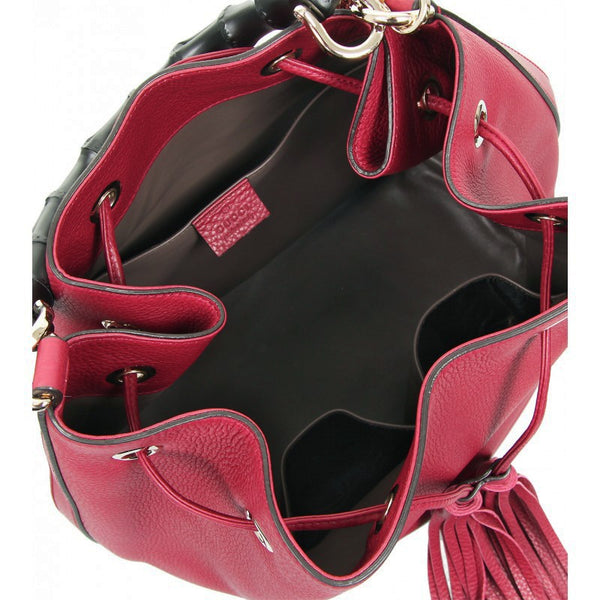 Bordeaux leather Miss Bamboo bucket bag