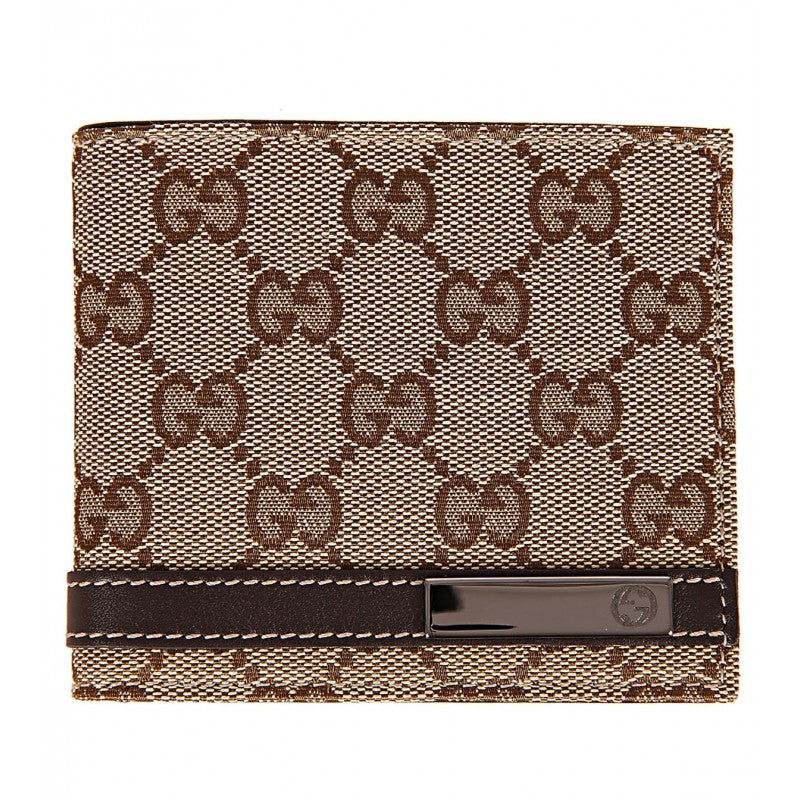 Brown & beige GG fabric bi-fold wallet