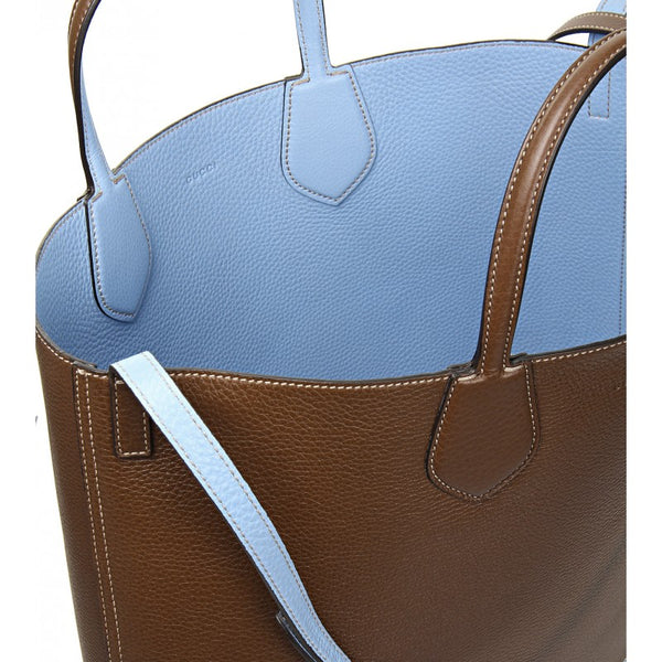 Gucci Brown & blue leather ramble reversible tote bag