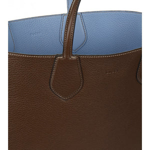 Brown & blue leather ramble reversible tote bag