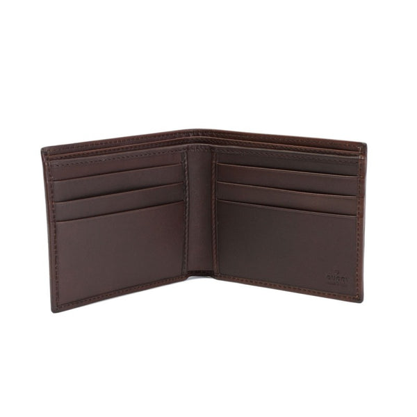 Wallet with classic web & dark brown leather trim