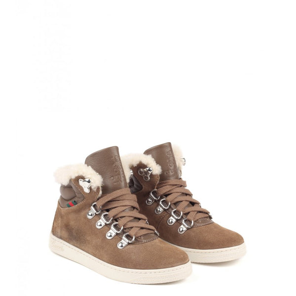 Brown leather & suede sneaker