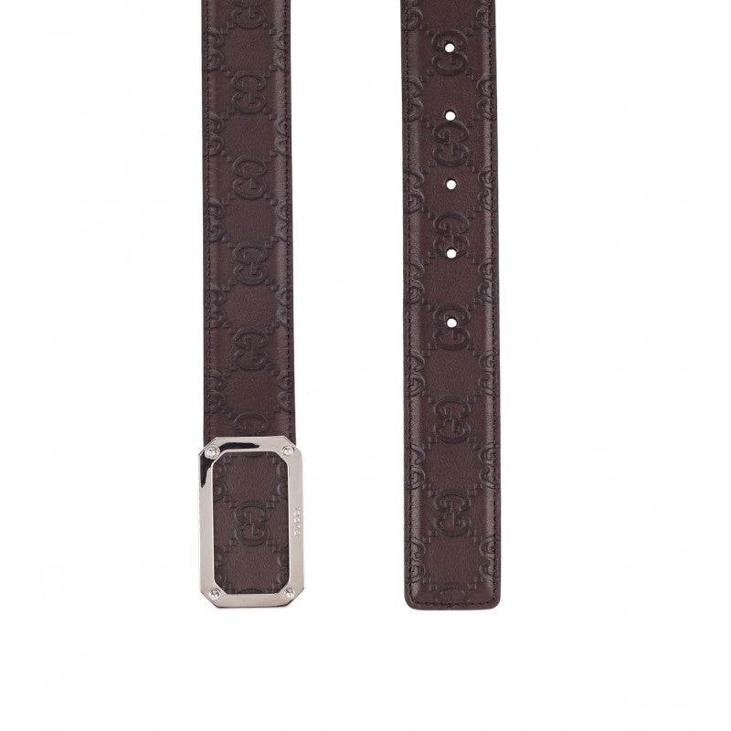 Brown leather guccissima belt