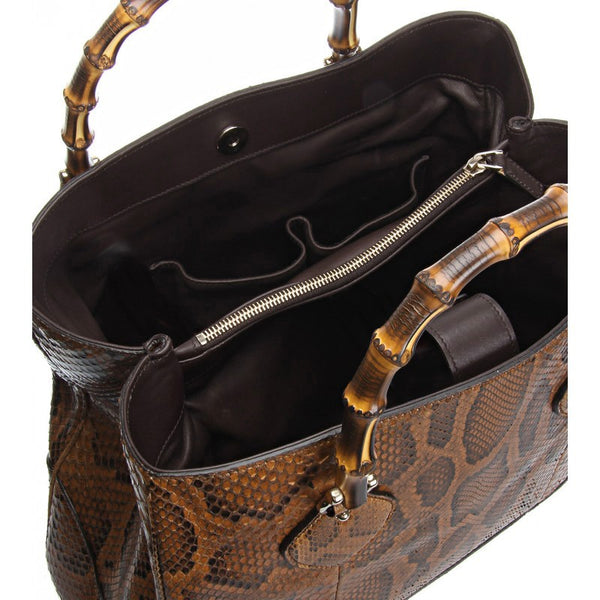 Brown snakeskin tote bag