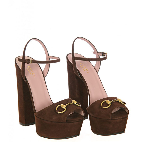 Brown suede horsebit detail platform sandals