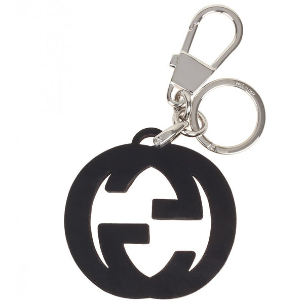 Burgundy & black interlocking G key ring charm