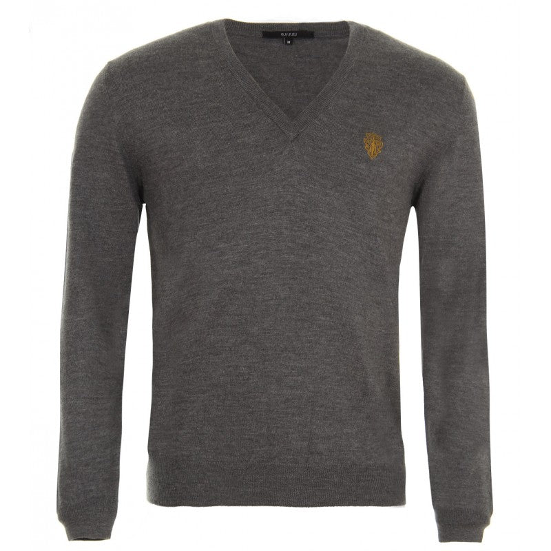 Grey merino wool V-neck sweater