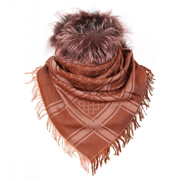 GG pattern chestnut brown wool & silk shawl