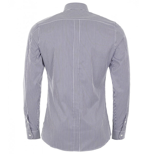 Dark blue & white striped cotton slim fit shirt