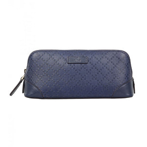 Dark blue leather diamante cosmetic case