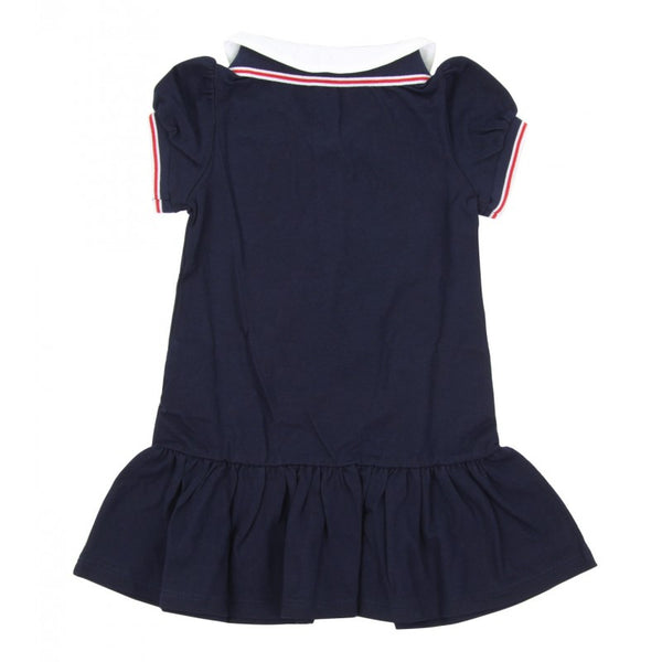 Dark blue double-collar dress