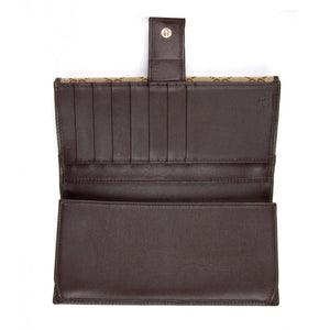 Dark brown leather & beige GG fabric wallet