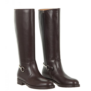 Dark brown leather horsebit knee boots