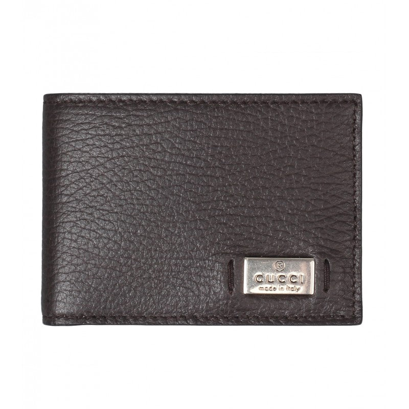 Gucci Dark brown leather metal tag bi-Fold wallet