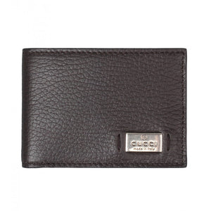 Dark brown leather metal tag bi-Fold wallet