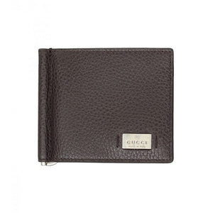 Dark brown leather money clip wallet