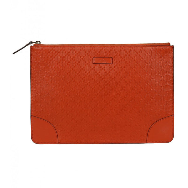 Dark orange Diamante leather zip-top pouch