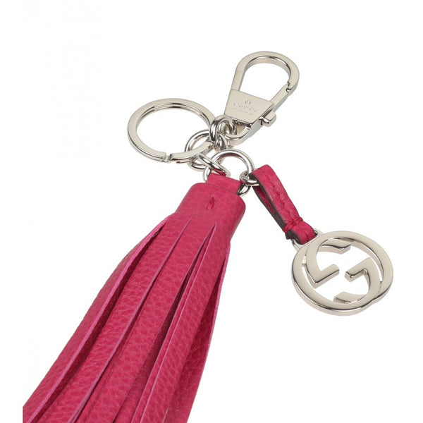 Gucci Dark pink leather tassel charm