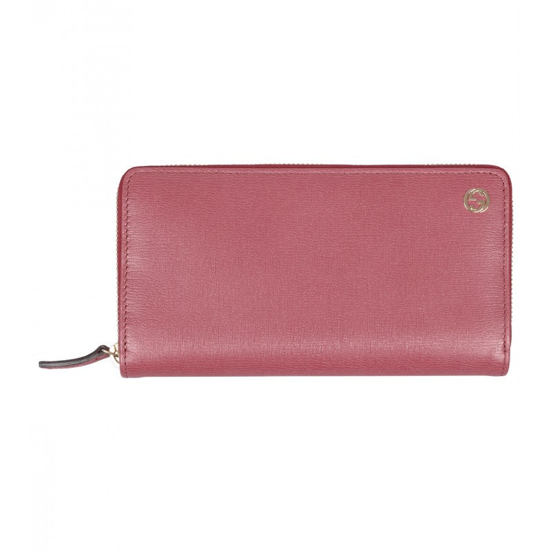 Dark pink leather zip around wallet