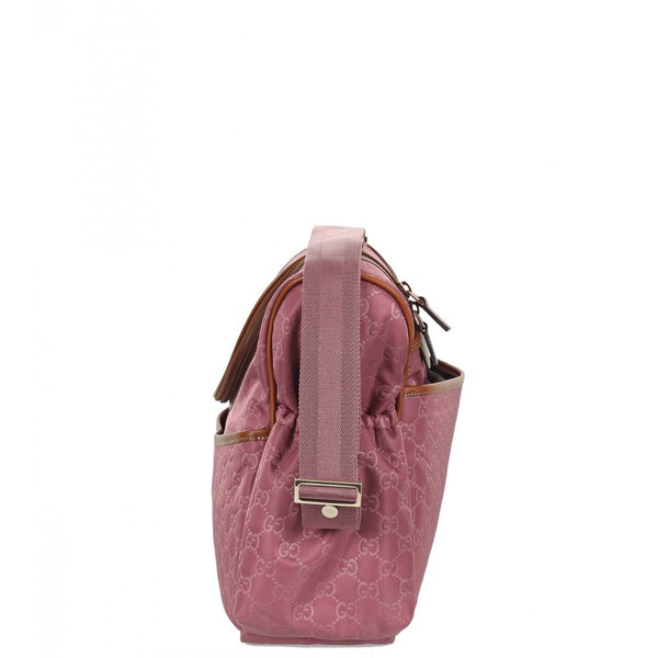 Dark pink nylon guccissima baby changing bag