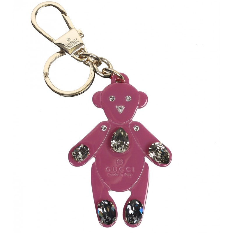 Gucci Dusty rose plexiglass crystals teddy bear key ring charm