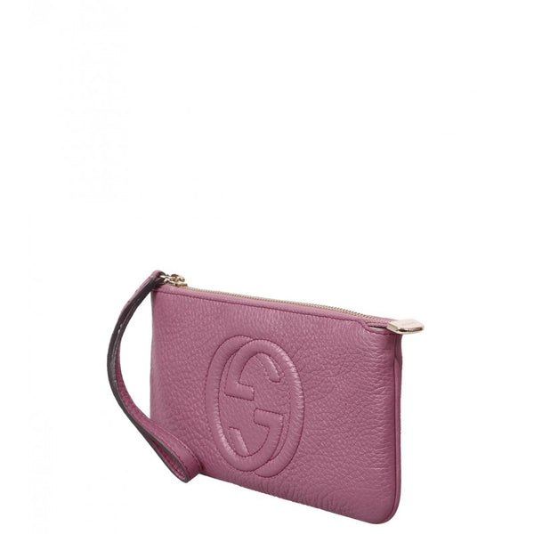 Dusty rose Soho leather wrist wallet