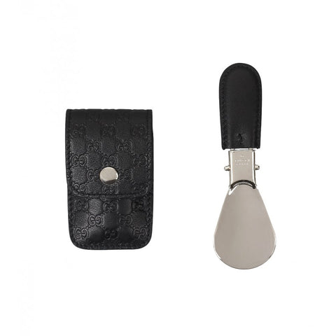 Foldable shoe horn with black leather Microguccissima travel case