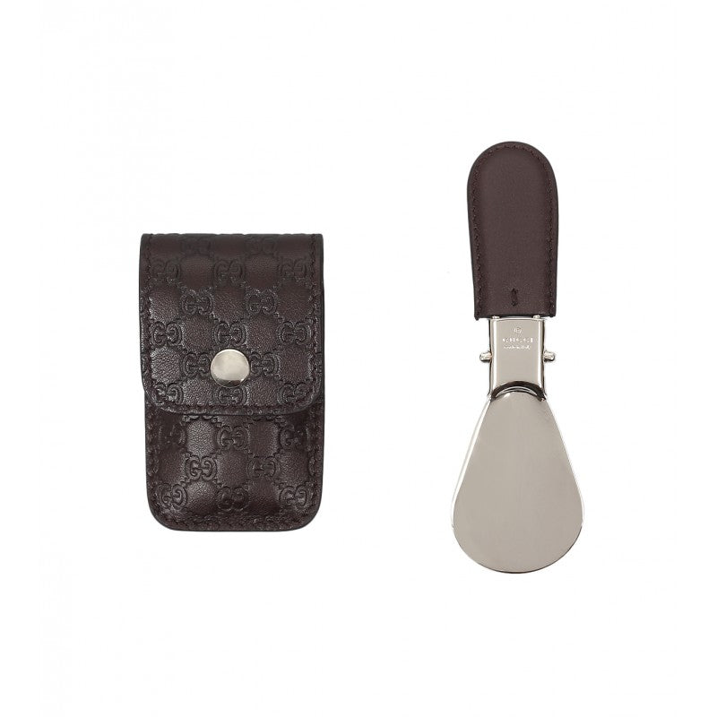Foldable shoe horn with dark brown leather Microguccissima travel case