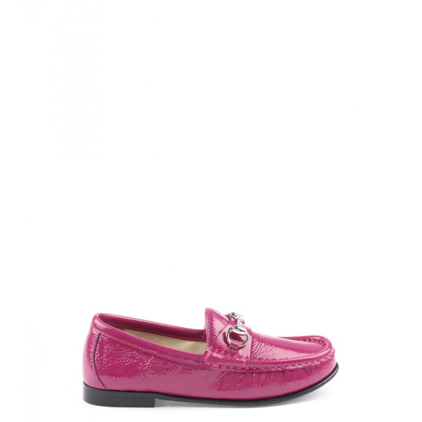Fuchsia patent leather kid's horsebit loafer