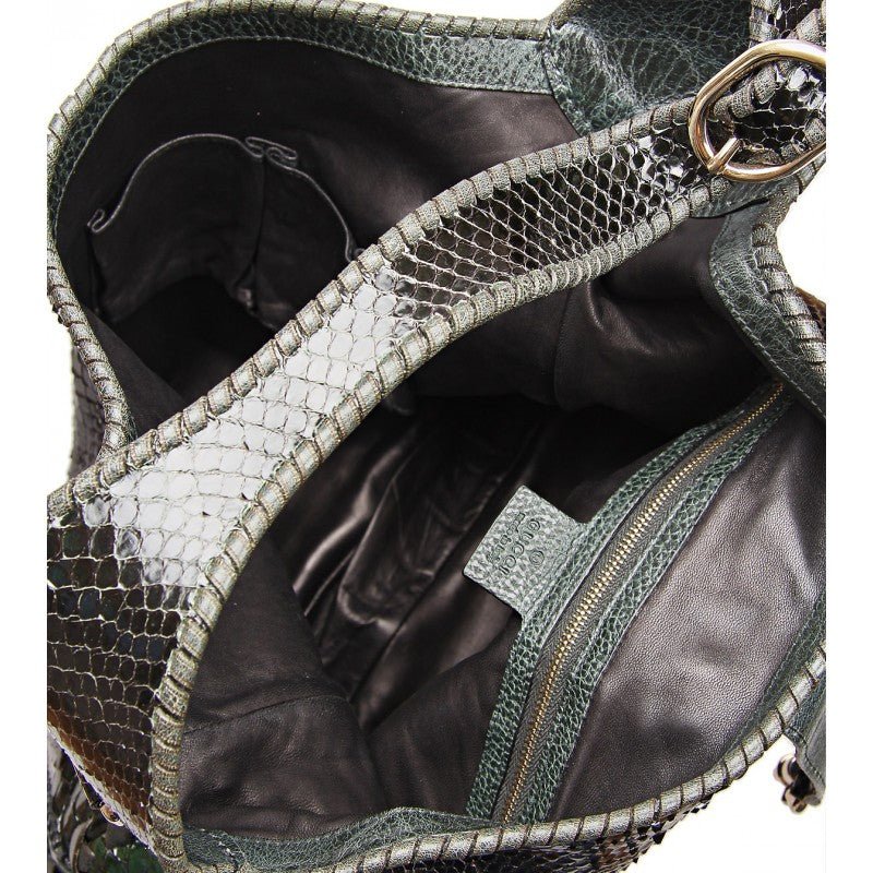 Green & black snakeskin shoulder bag