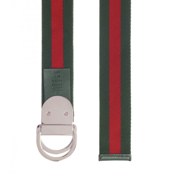 Green & red nylon web signature buckle belt
