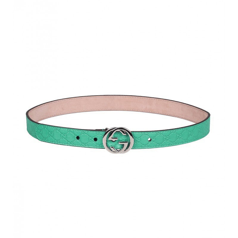 Green leather micro guccissima belt
