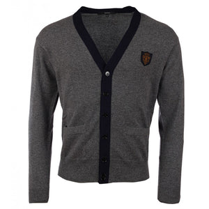Grey & navy cashmere cardigan with crest patch