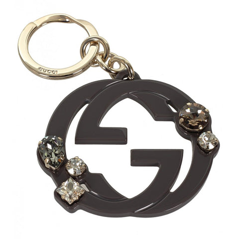 Grey GG plexiglass crystals key ring