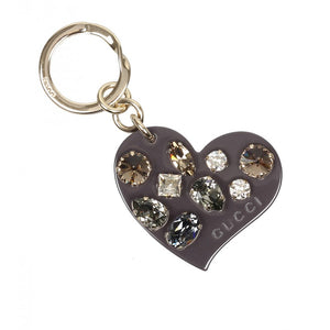 Grey plexiglass crystals heart key ring