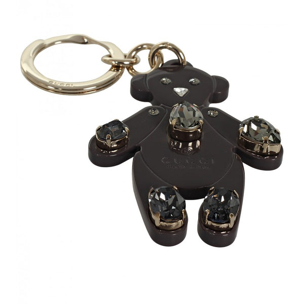 Grey plexiglass crystals Teddy Bear key ring