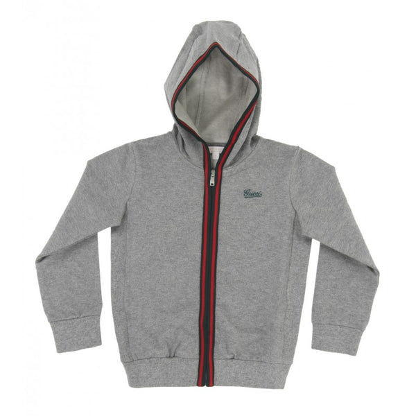 Grey stretch cotton hooded sweatshirt