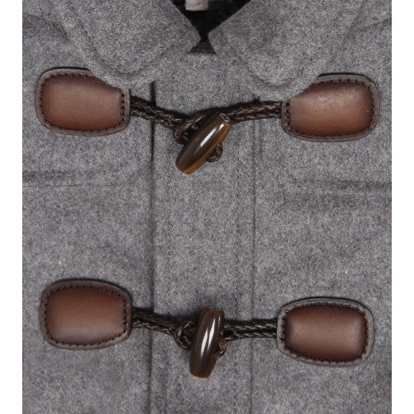 Grey wool montgomery coat