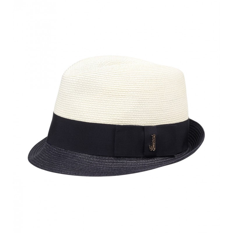 48fd646f569 Natural and navy blue straw fedora hat