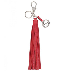 Hibiscus red leather tassel charm