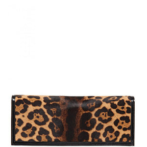 Leather jaguar print clutch bag