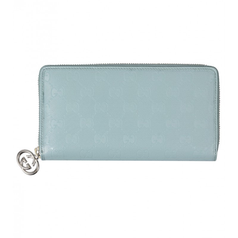 Light blue GG imprimé leather zip wallet