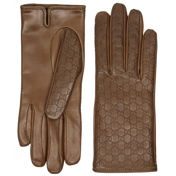Light brown leather micro guccissima gloves