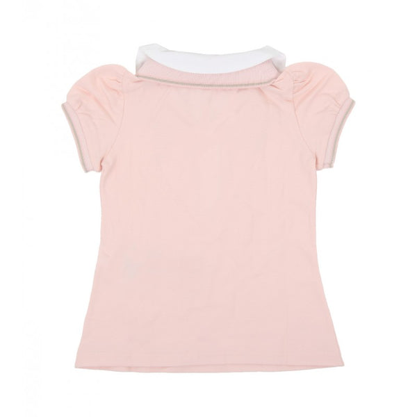 Light pink stretch double-collar polo shirt